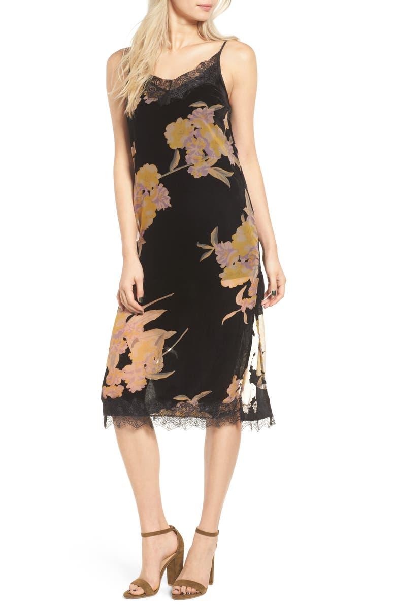 BAND OF GYPSIES Velvet Burnout Midi Dress, Main, color, 001