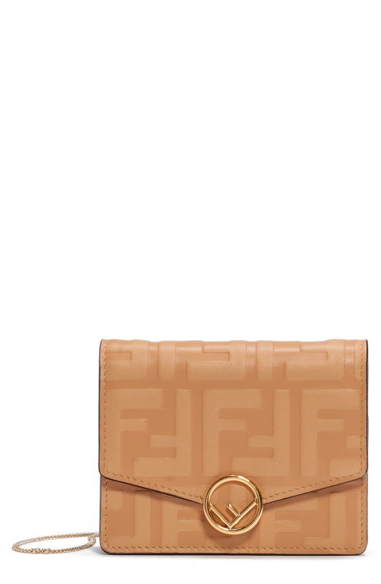 FENDI FF Embossed Leather Wallet on a Chain, Main, color, HONEY