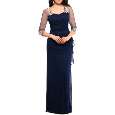 Xscape Embellished Illusion Sleeve Ruched Gown, Blue