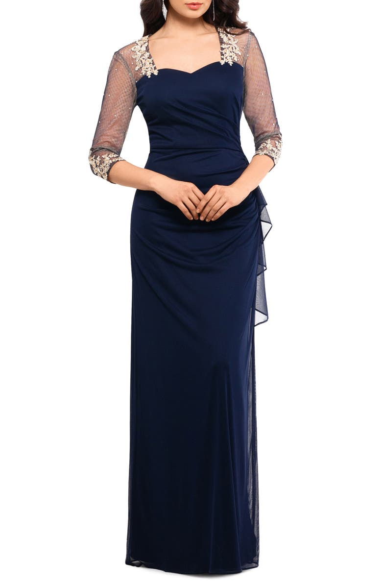 XSCAPE Embellished Illusion Sleeve Ruched Gown, Main, color, 410