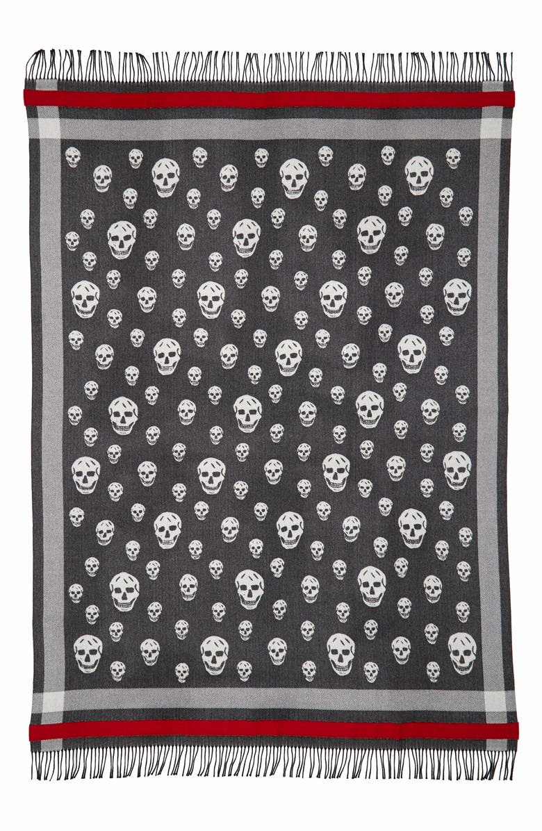 ALEXANDER MCQUEEN Skull Wool & Cashmere Blanket Scarf, Main, color, BLACK/ IVORY