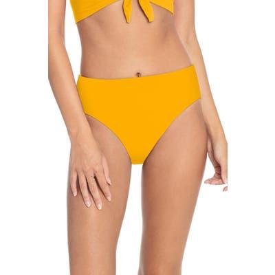Robin Piccone Ava High Waist Bikini Bottoms, Yellow