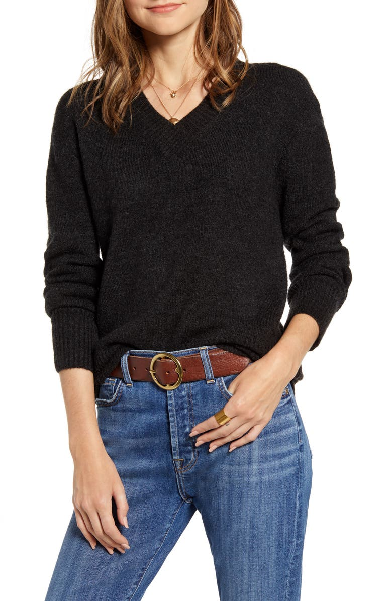 TREASURE & BOND Cozy V-Neck Sweater, Main, color, 021