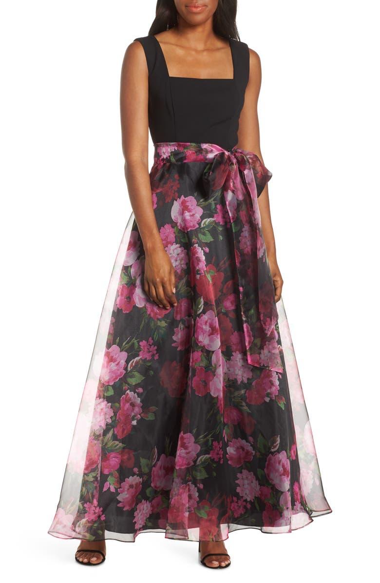 ELIZA J Floral Organza Gown, Main, color, BLACK MULTI