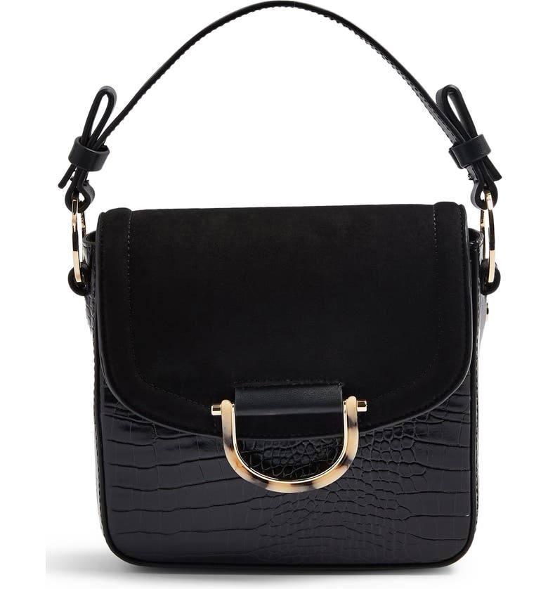 TOPSHOP Carrie Croc Shoulder Bag, Main, color, BLACK