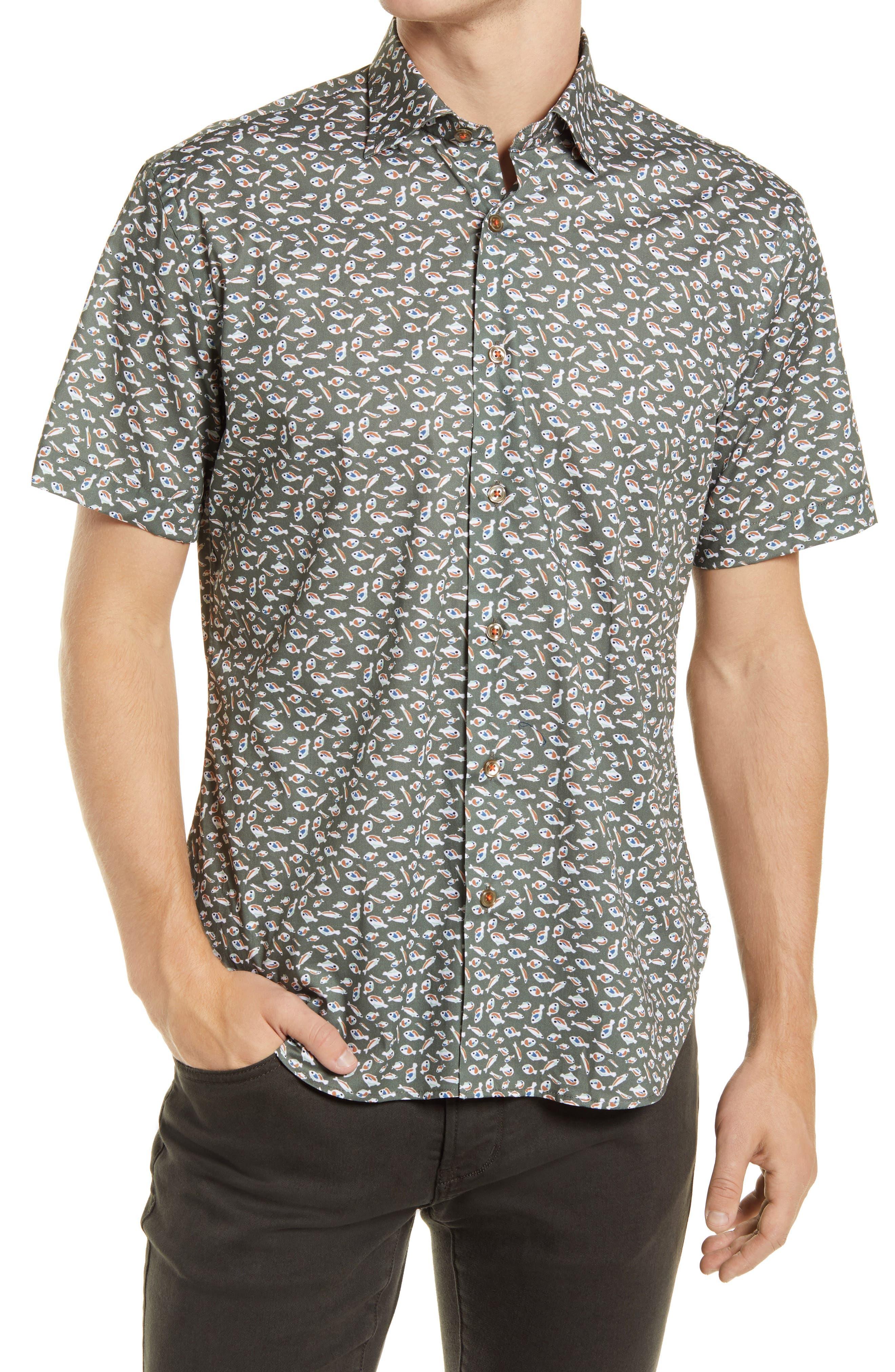 Something Fishy Short Sleeve Stretch Button-Up Shirt
