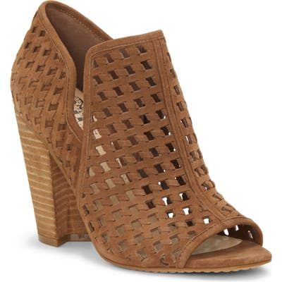 Vince Camuto Korlettan Perforated Peep Toe Bootie, Brown