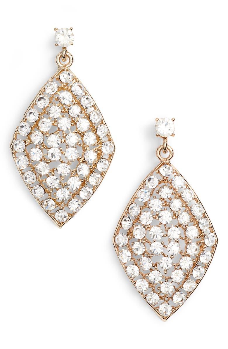 TEN79LA Crystal Drop Earrings, Main, color, GOLD