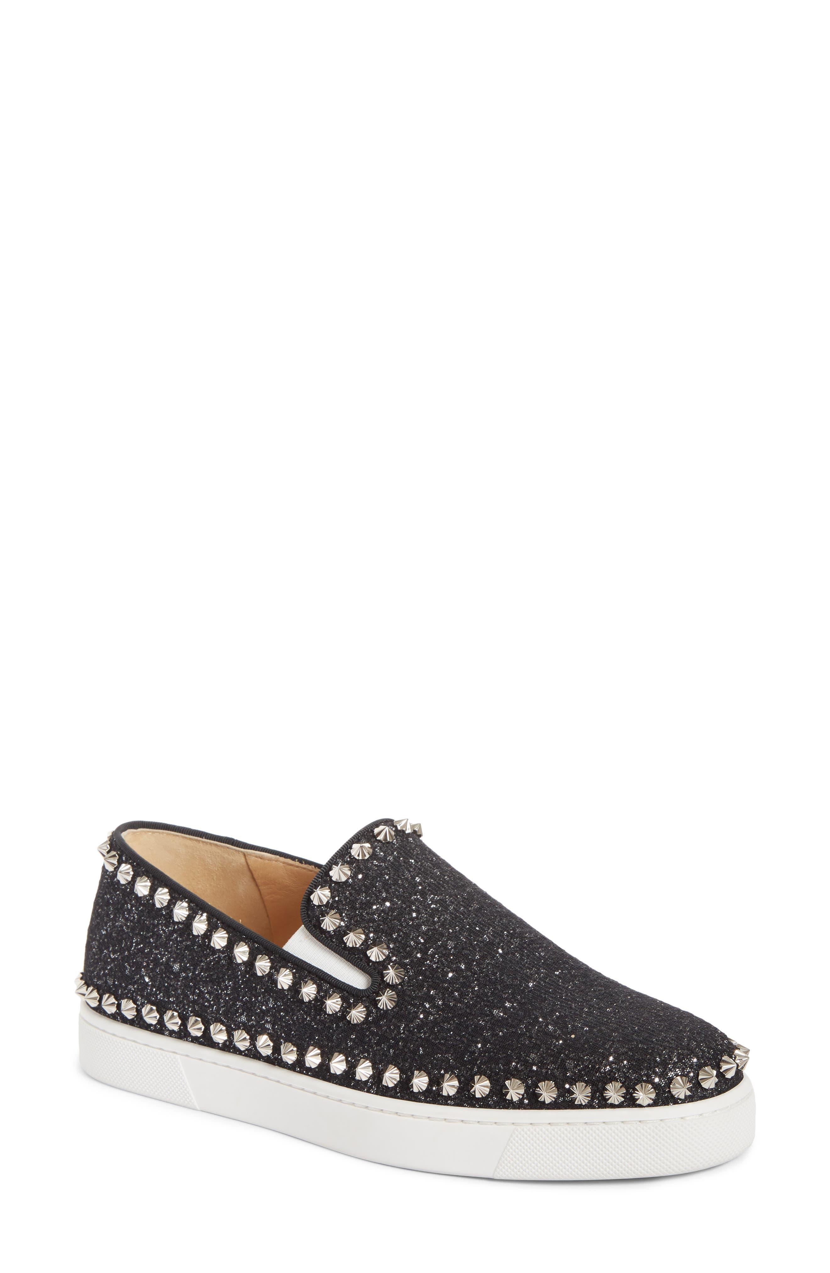 Christian Louboutin Spike Slip-On Sneaker - Black