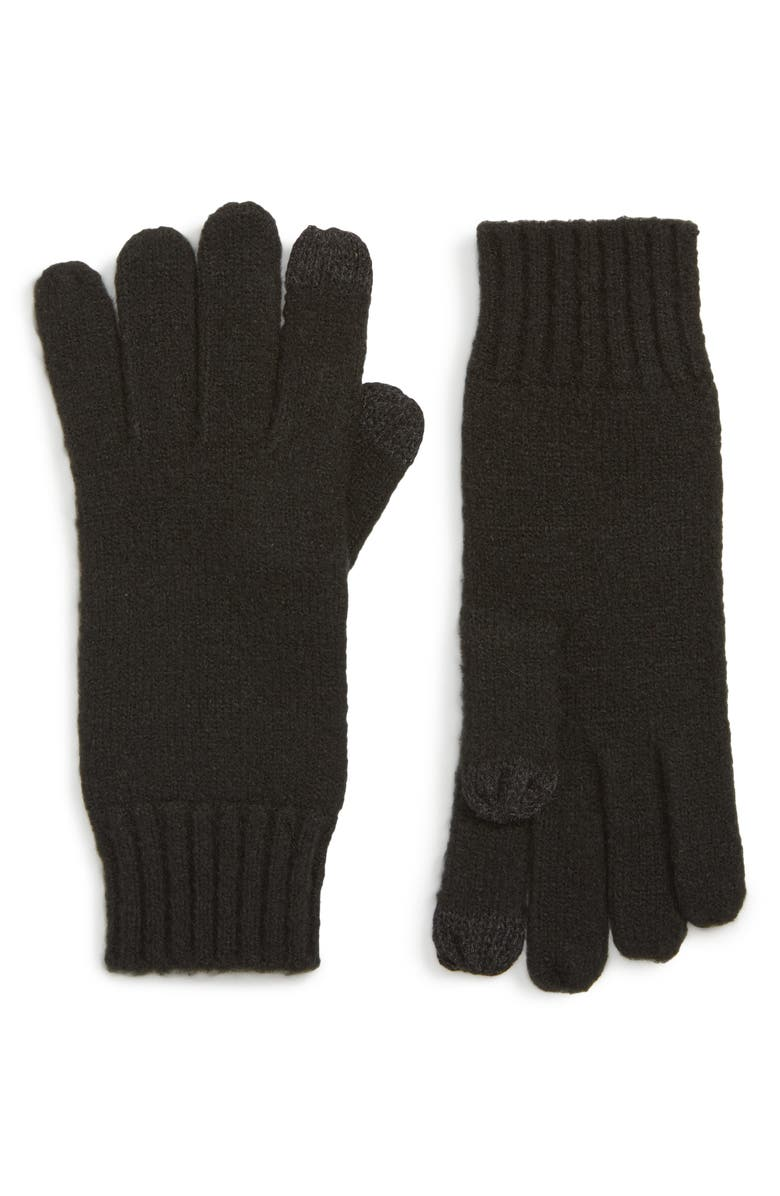 NORDSTROM Knit Tech Gloves, Main, color, BLACK