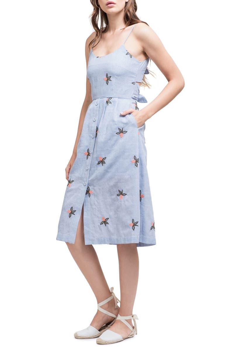 J.O.A. Embroidered Midi Dress, Main, color, 400