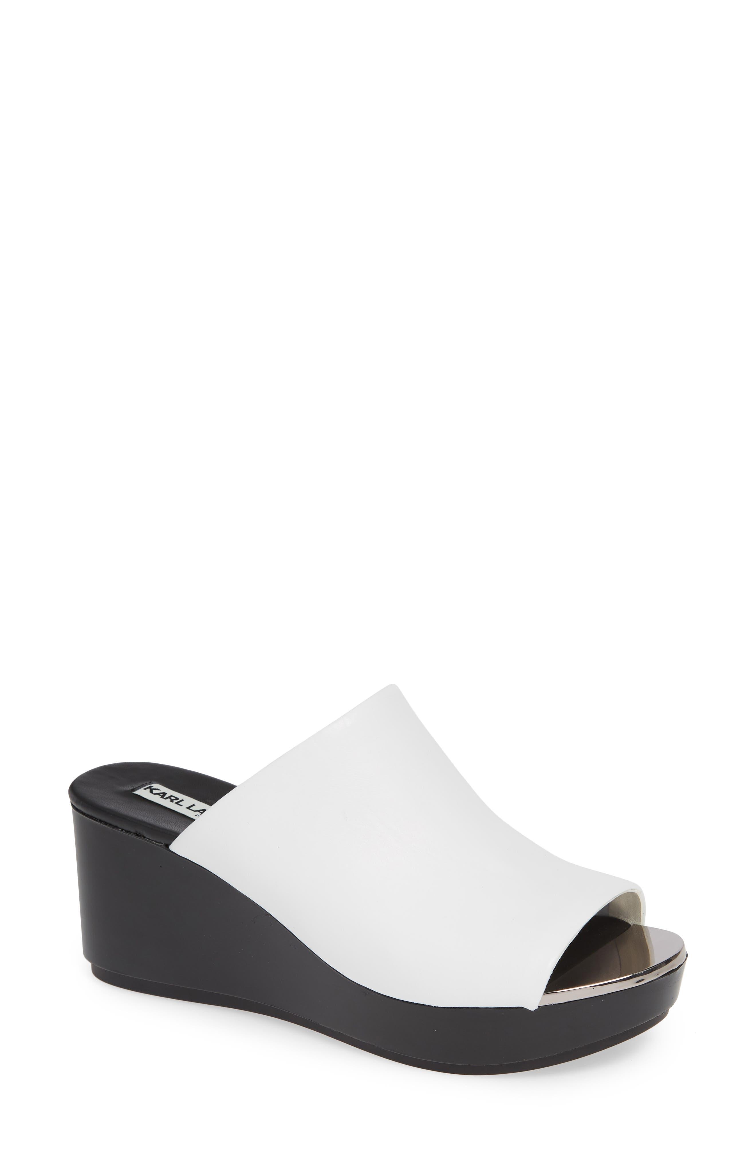 Lyric Slide Sandal, Main, color, WHITE LEATHER