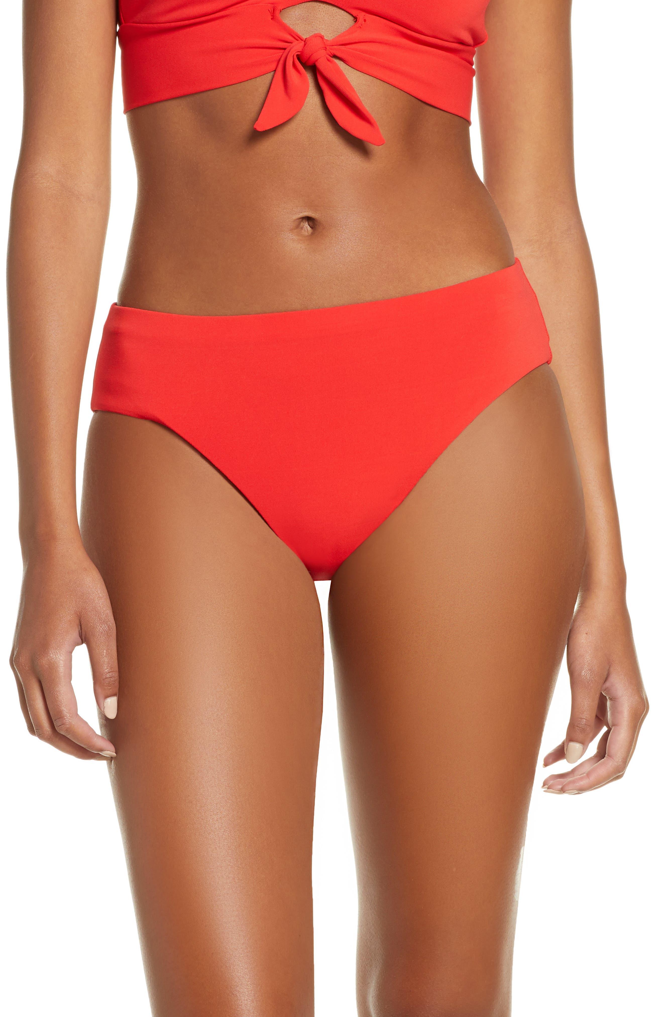 Robin Piccone Ava High Waist Bikini Bottoms, Red