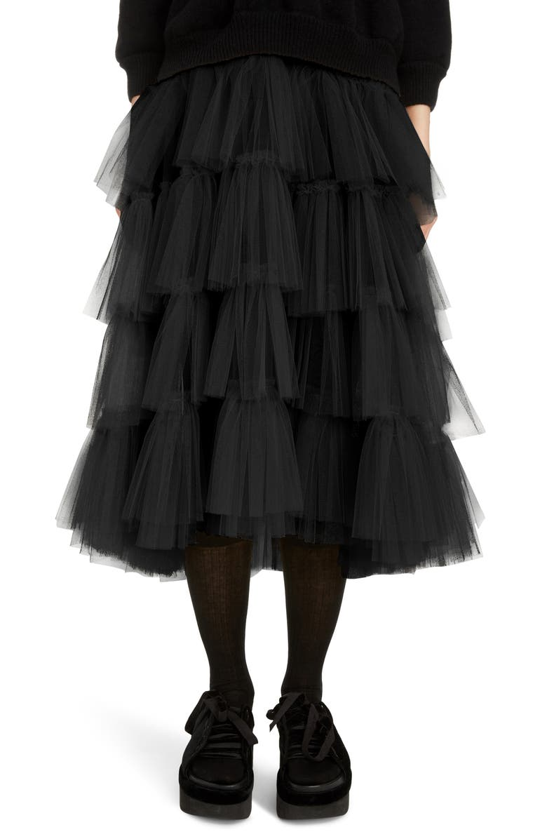 SIMONE ROCHA Tiered Tulle Tutu Midi Skirt, Main, color, BLACK