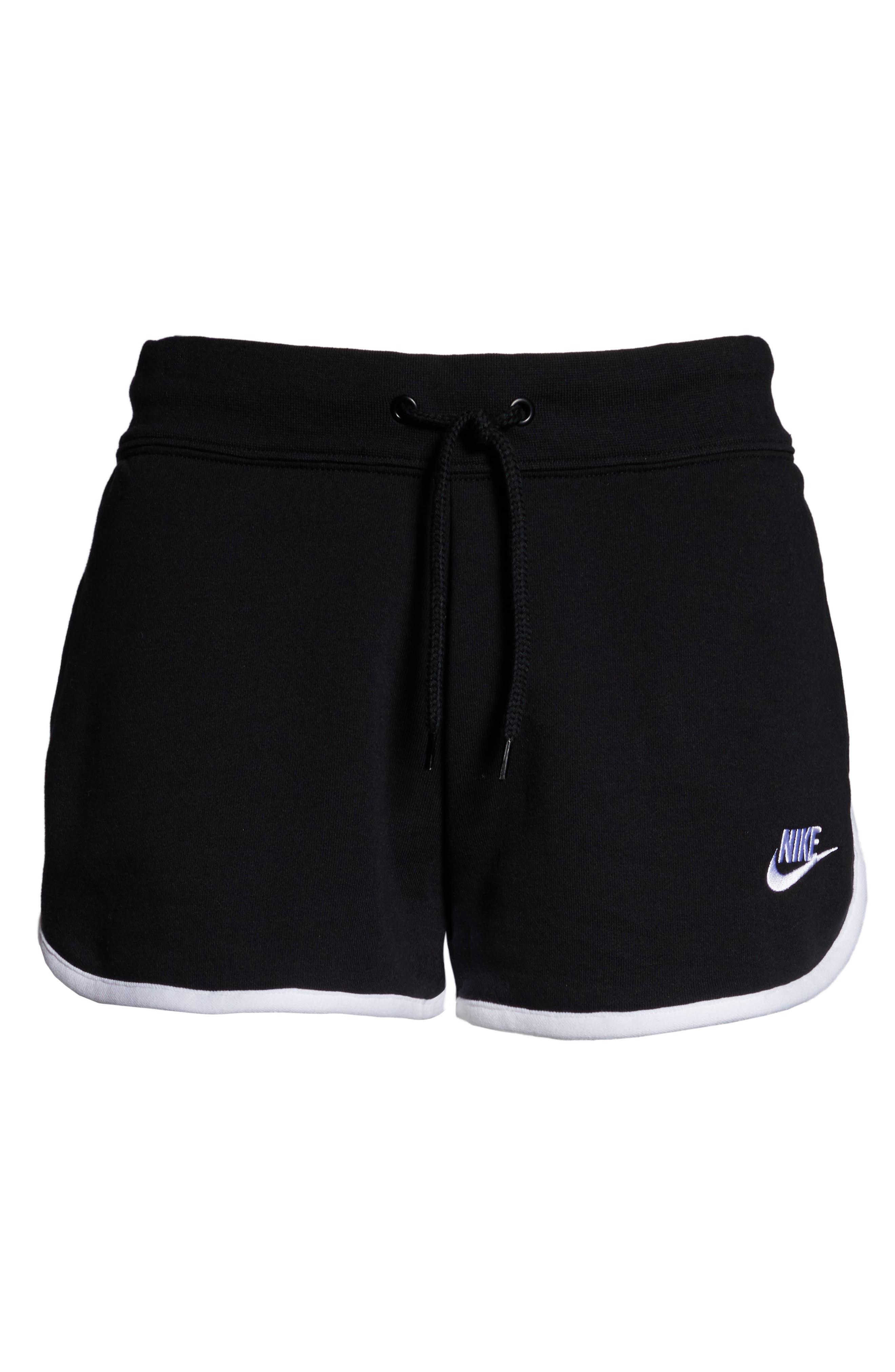 ,                             Sportswear Heritage Fleece Shorts,                             Alternate thumbnail 9, color,                             BLACK/ WHITE/ WHITE