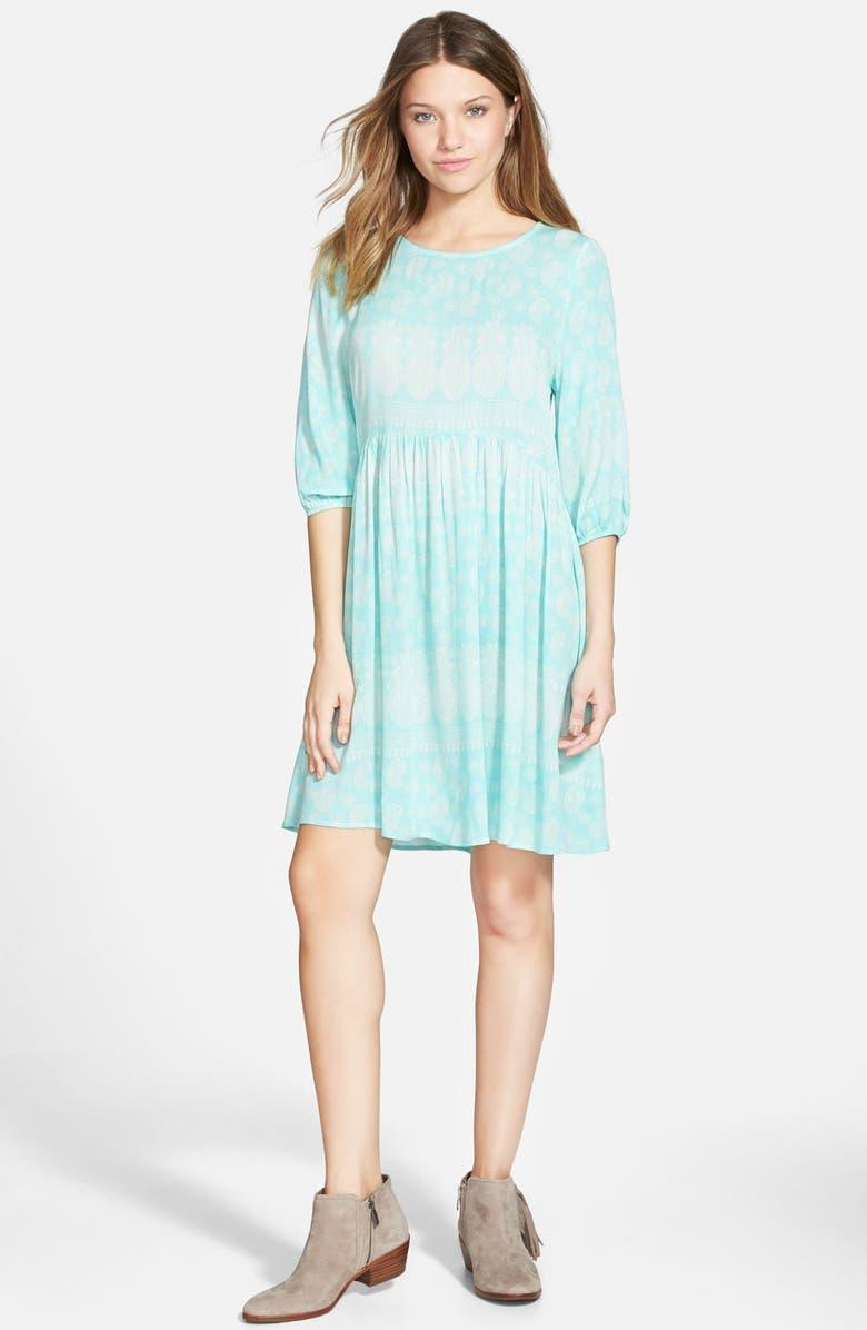 EVERLY Three Quarter Sleeve Babydoll Dress, Main, color, 300