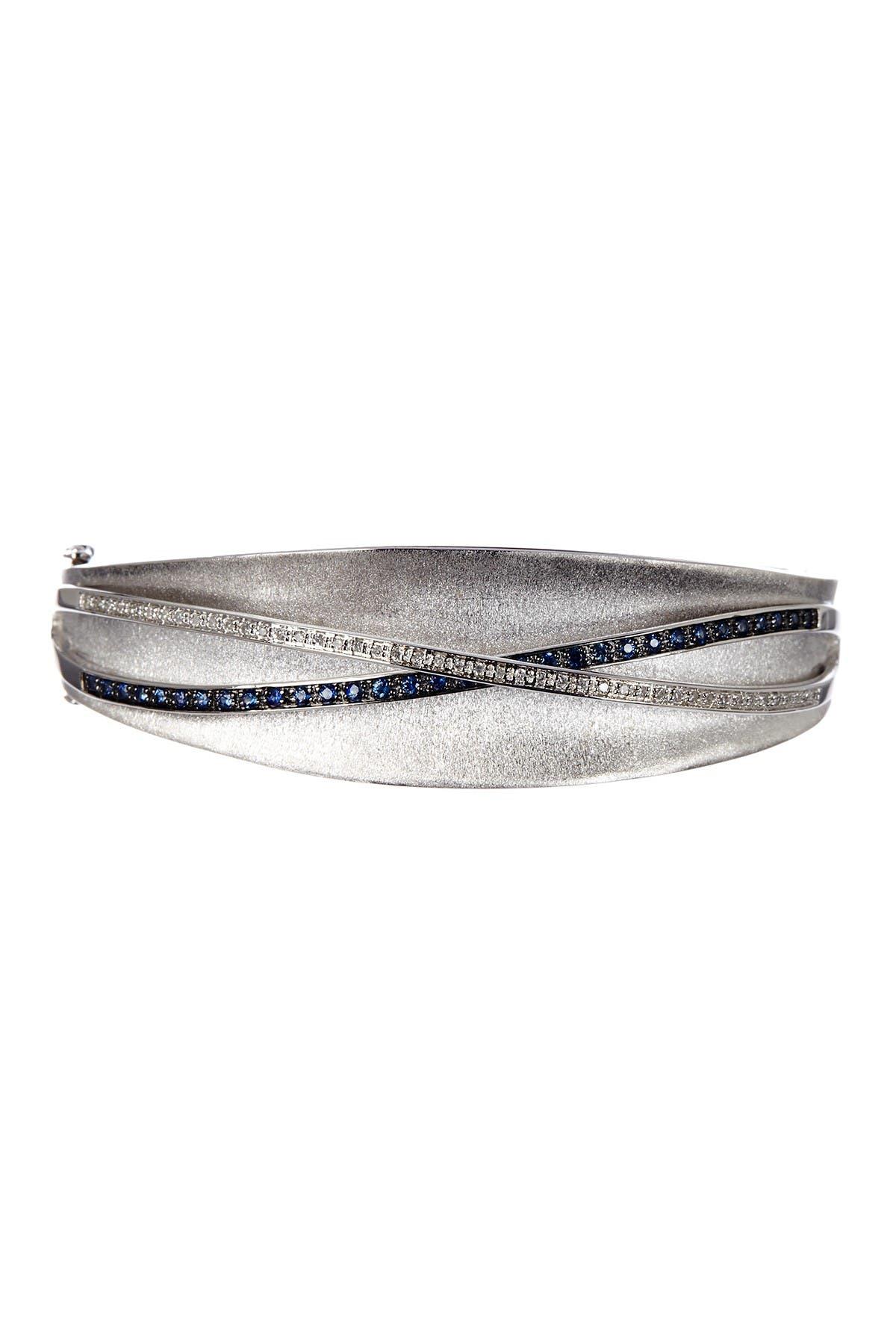 Image of Effy Sterling Silver Sapphire & Diamond Bangle Bracelet