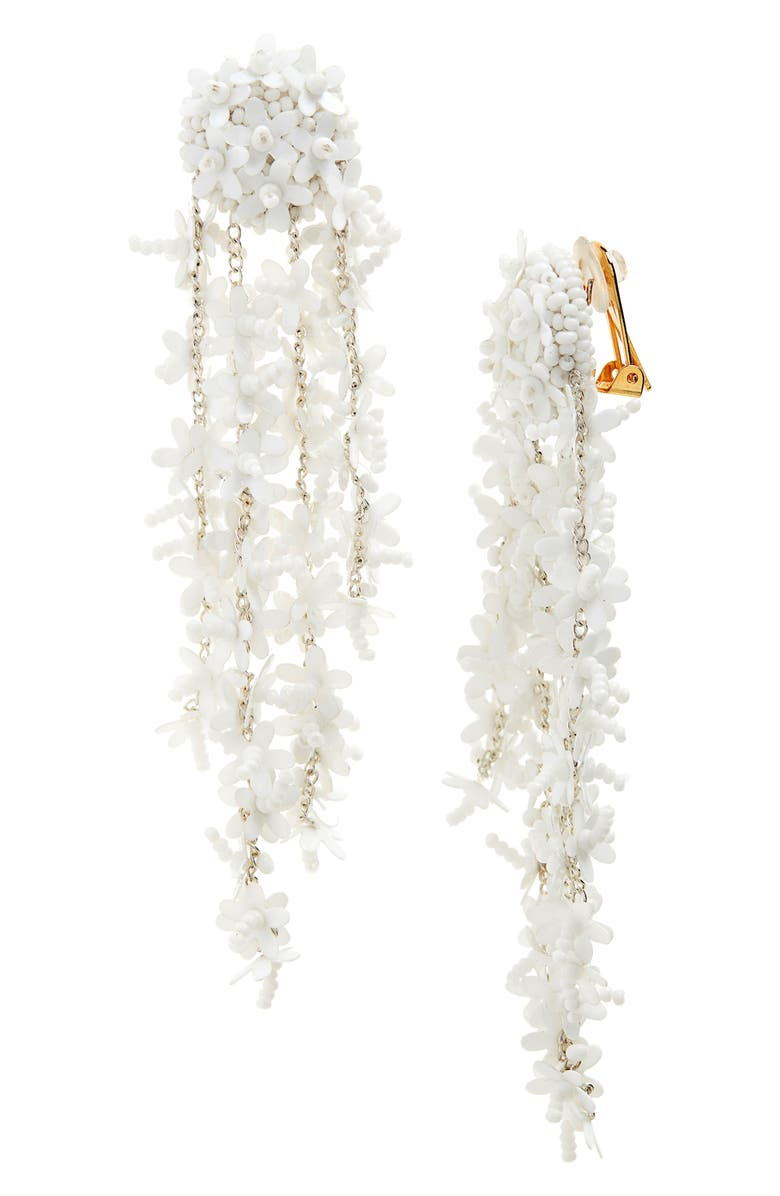 OSCAR DE LA RENTA Beaded Cascade Drop Earrings, Main, color, WHITE