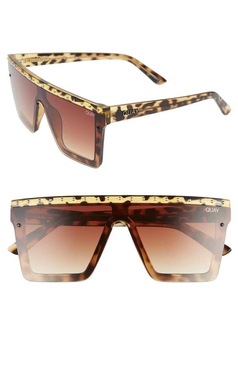 QUAY AUSTRALIA x JLO Hindsight 67mm Shield Sunglasses, Main, color, TORTOISE GOLD STUD/ BROWN