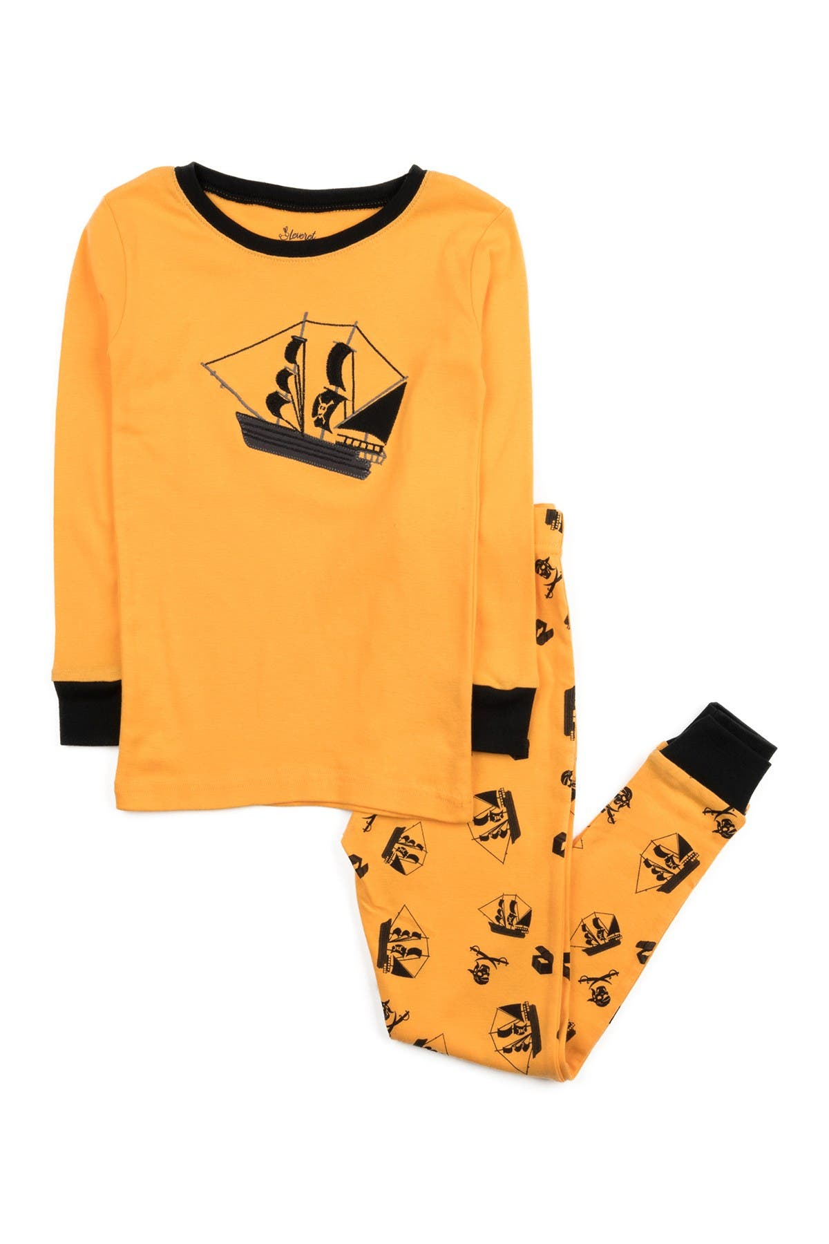 Image of Leveret Yellow Pirate 2-Piece Pajama Set