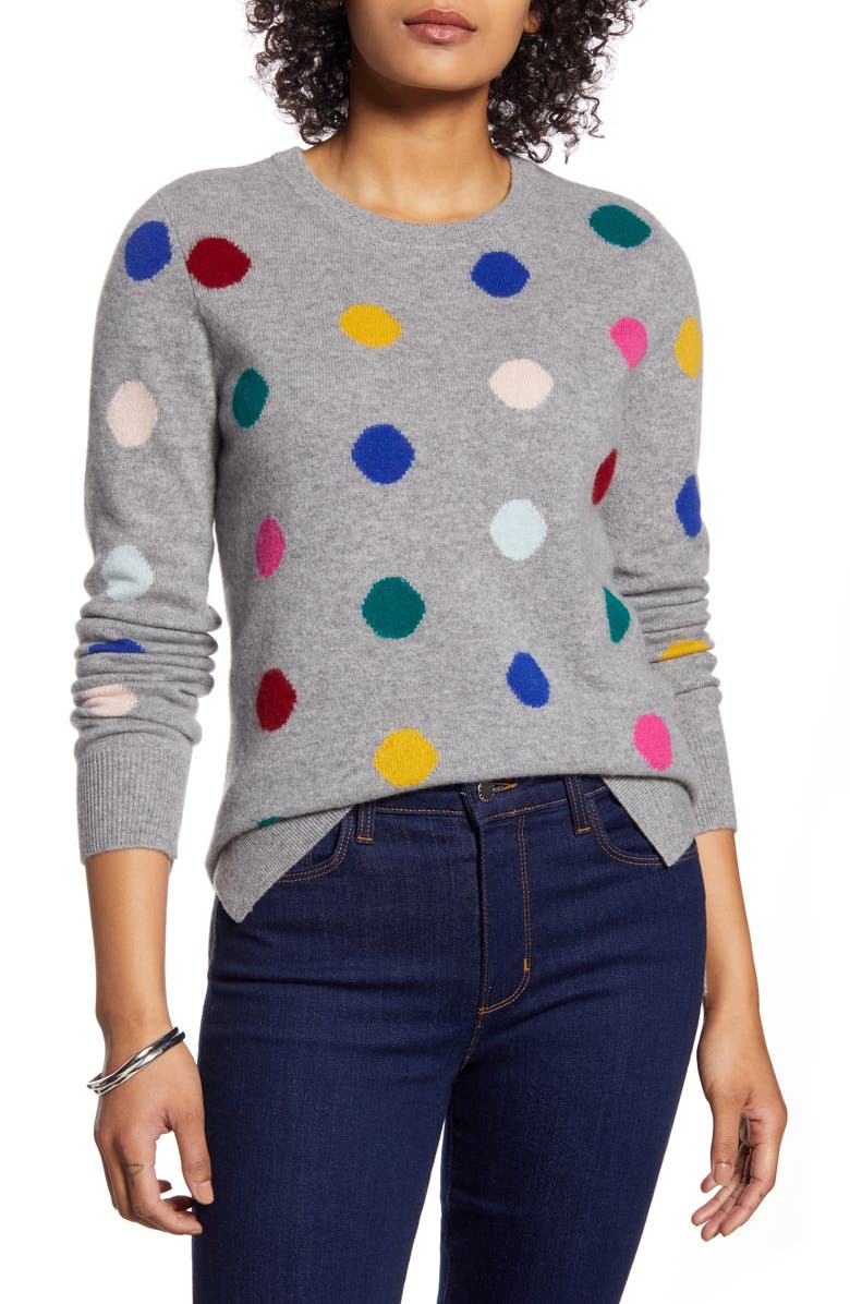 HALOGEN<SUP>®</SUP> Multicolor Dot Pattern Cashmere Sweater, Main, color, GREY MULTI DOT