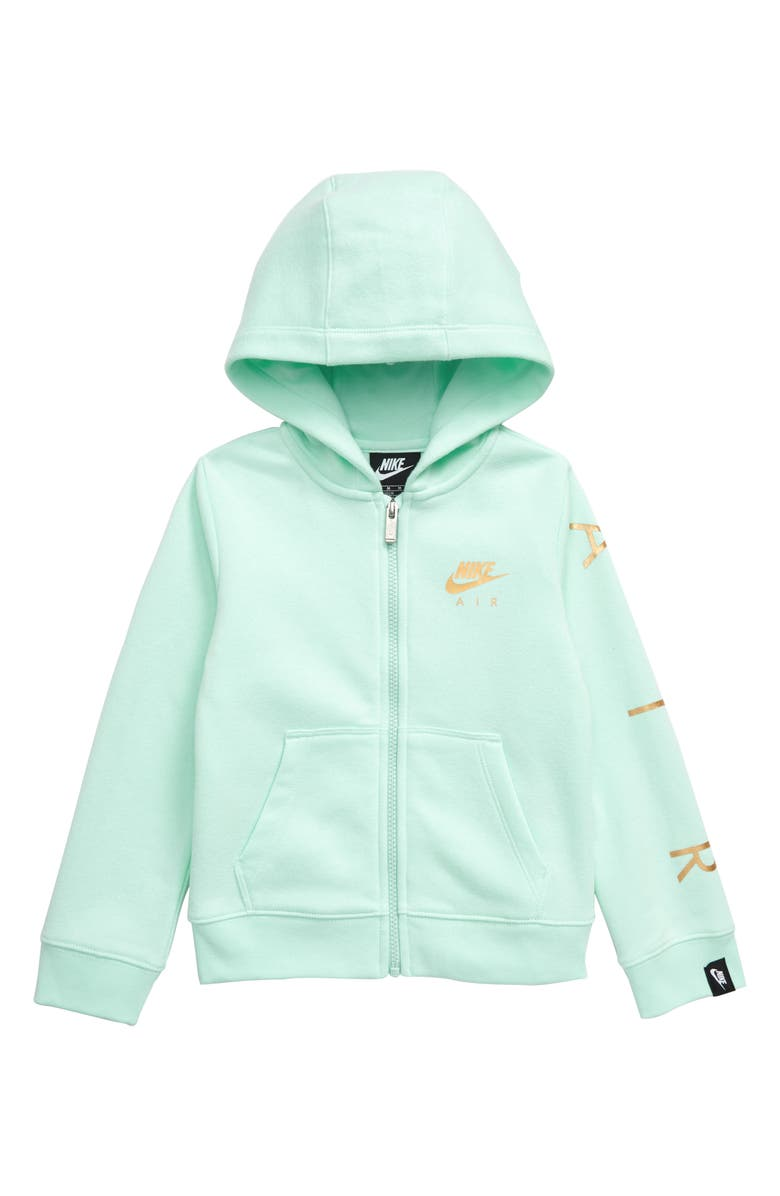 NIKE Air Fleece Full Zip Hoodie, Main, color, TEAL TINT