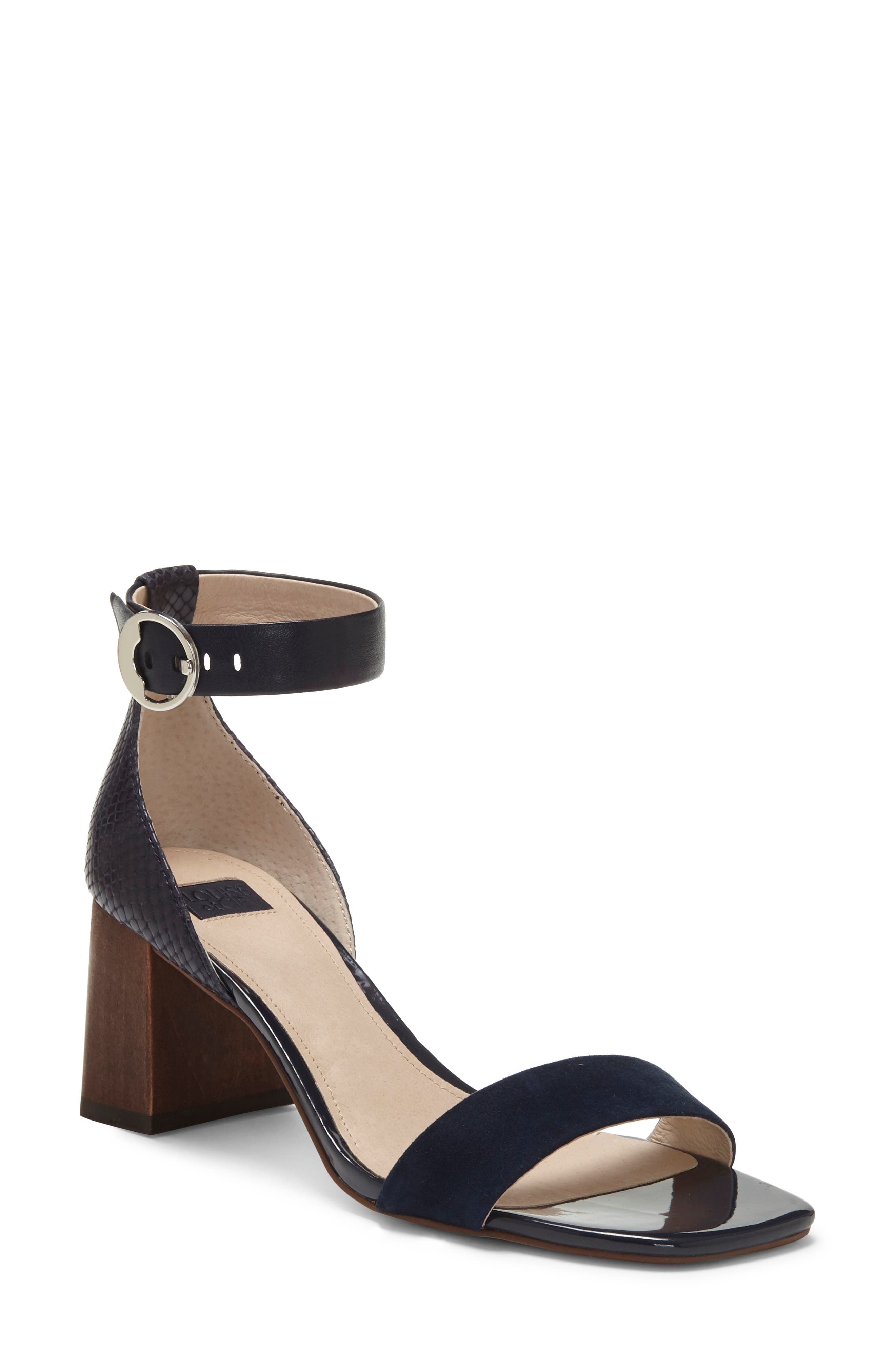 A woodgrain block heel grounds this ankle-strap sandal in earthy vintage-inspired style. Style Name: Louise Et Cie Gabrie Ankle Strap Sandal (Women). Style Number: 6017193. Available in stores.