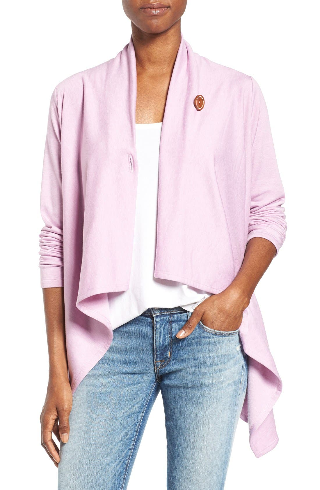 ,                             One-Button Fleece Wrap Cardigan,                             Main thumbnail 170, color,                             538