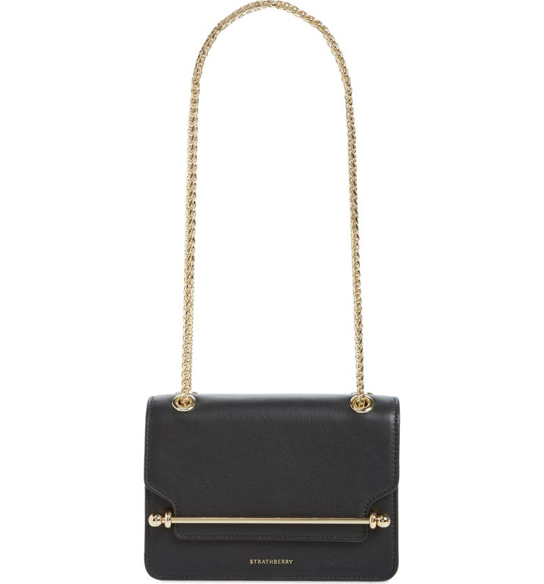 STRATHBERRY Mini East/West Leather Crossbody Bag, Main, color, BLACK