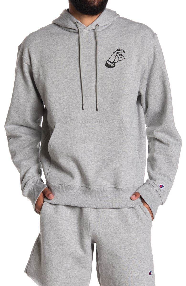 CHAMPION Powerblend Graphic Logo Pullover Hoodie, Main, color, OXFORD GRAY