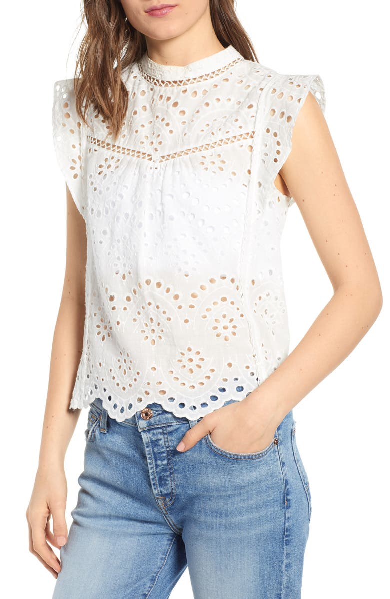 7 FOR ALL MANKIND<SUP>®</SUP> Eyelet Sleeveless Top, Main, color, WHITE