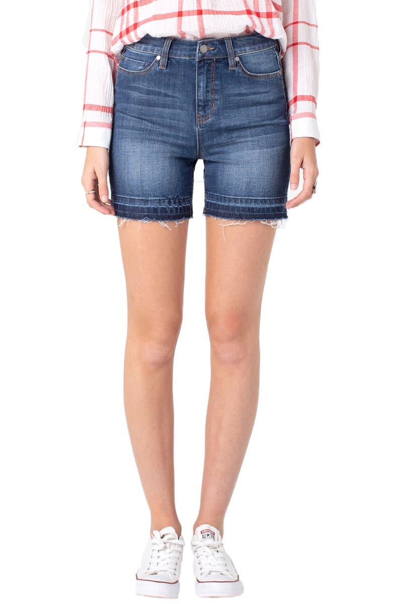 LIVERPOOL High Waist Released Hem Shorts, Main, color, RIDGECREST