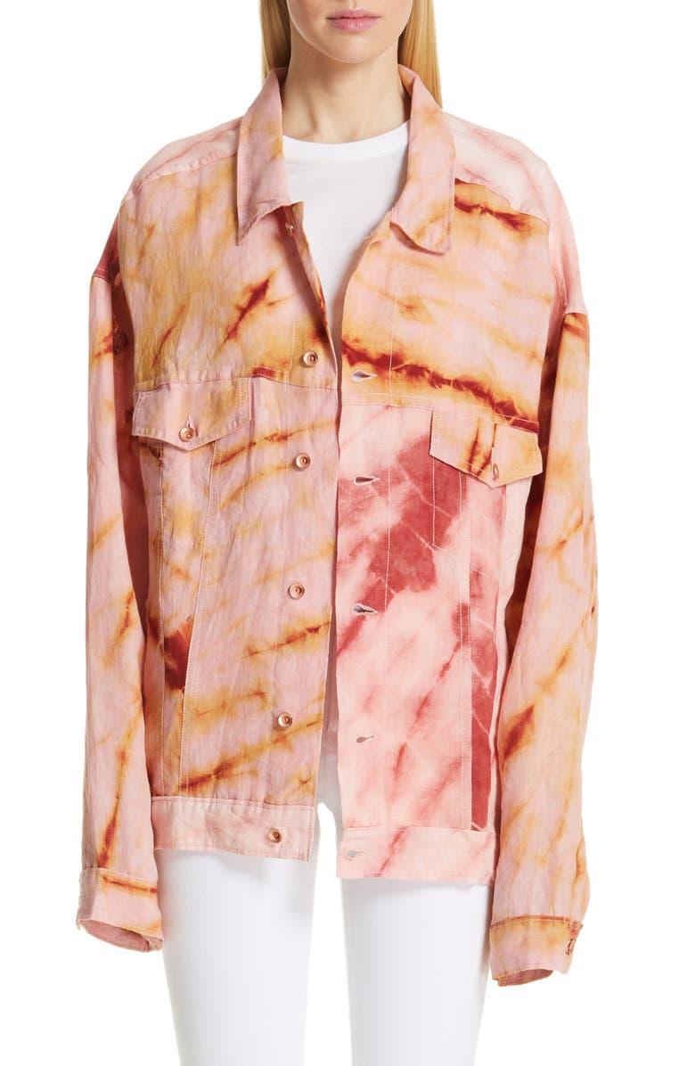 STORY MFG. Monday Tie Dye Linen Jacket, Main, color, 600