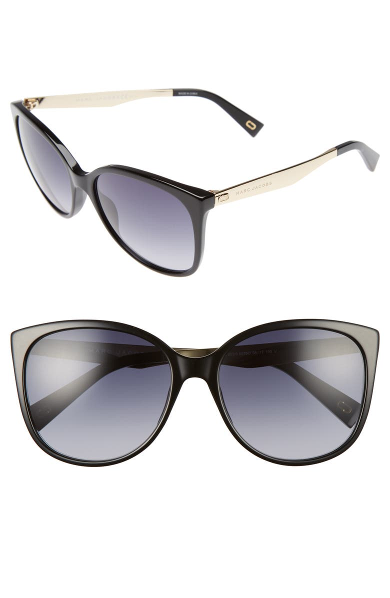 MARC JACOBS 56mm Gradient Lens Butterfly Sunglasses, Main, color, BLACK