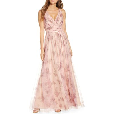 Marchesa Notte V-Neck Floral Tulle Bridesmaid Gown, Pink