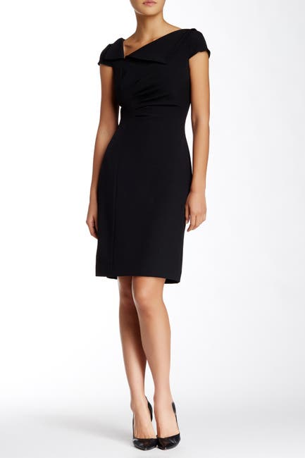Image of Tahari Foldover Neck Sheath Dress