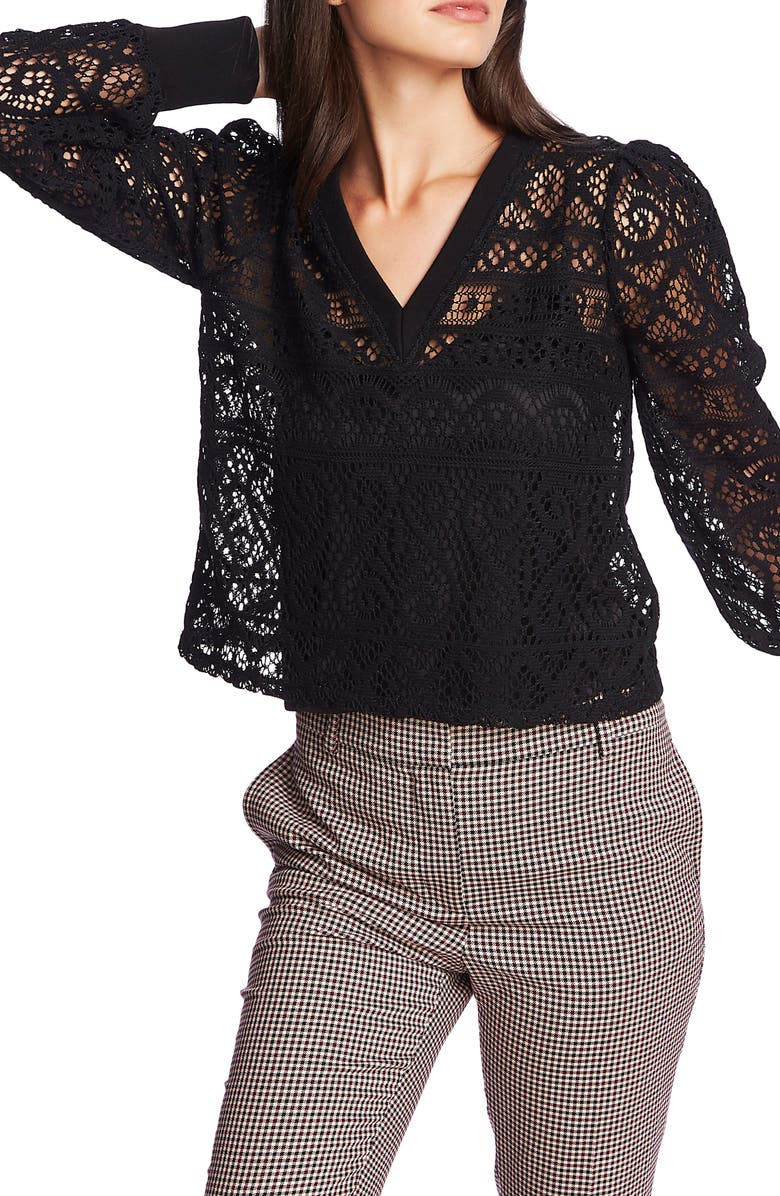 1.STATE Cozy Lace Knit Top, Main, color, RICH BLACK
