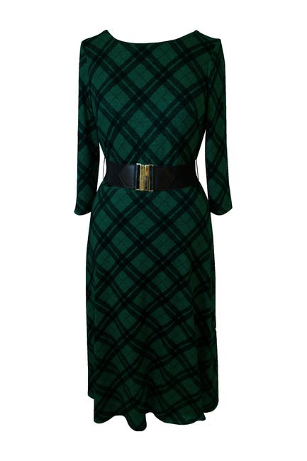 Image of Sandra Darren Plaid 3/4 Sleeve Midi Dress