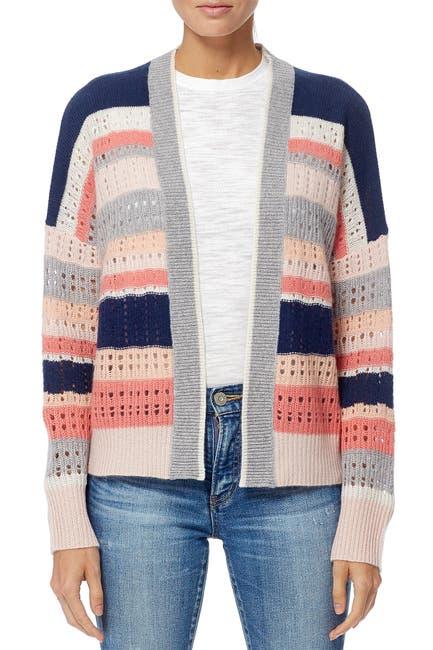 Image of 360 Cashmere Mackenzie Striped Cashmere Open Knit Cardigan