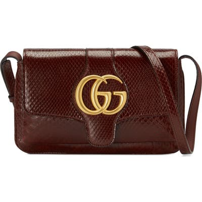 Gucci Running Genuine Python Small Shoulder Bag - Burgundy