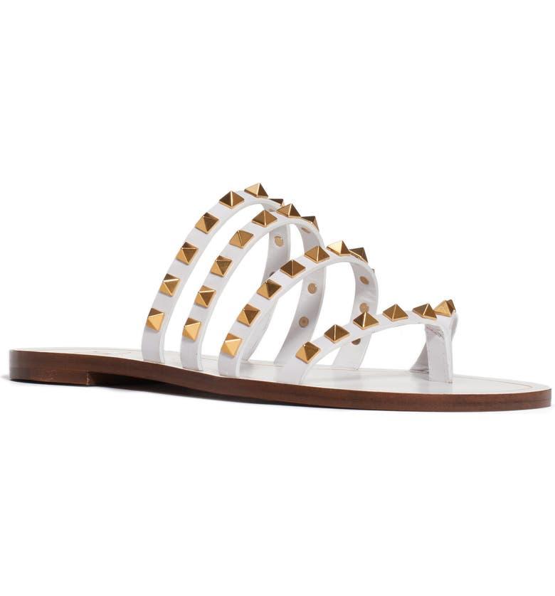 VALENTINO GARAVANI Rockstud Flair Slide Sandal, Main, color, WHITE