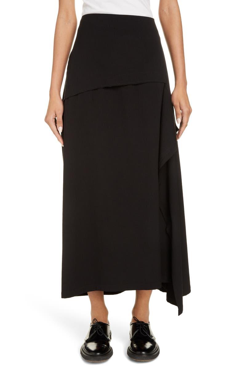 Y'S BY YOHJI YAMAMOTO Asymmetrical Wool Blend Midi Skirt, Main, color, BLACK