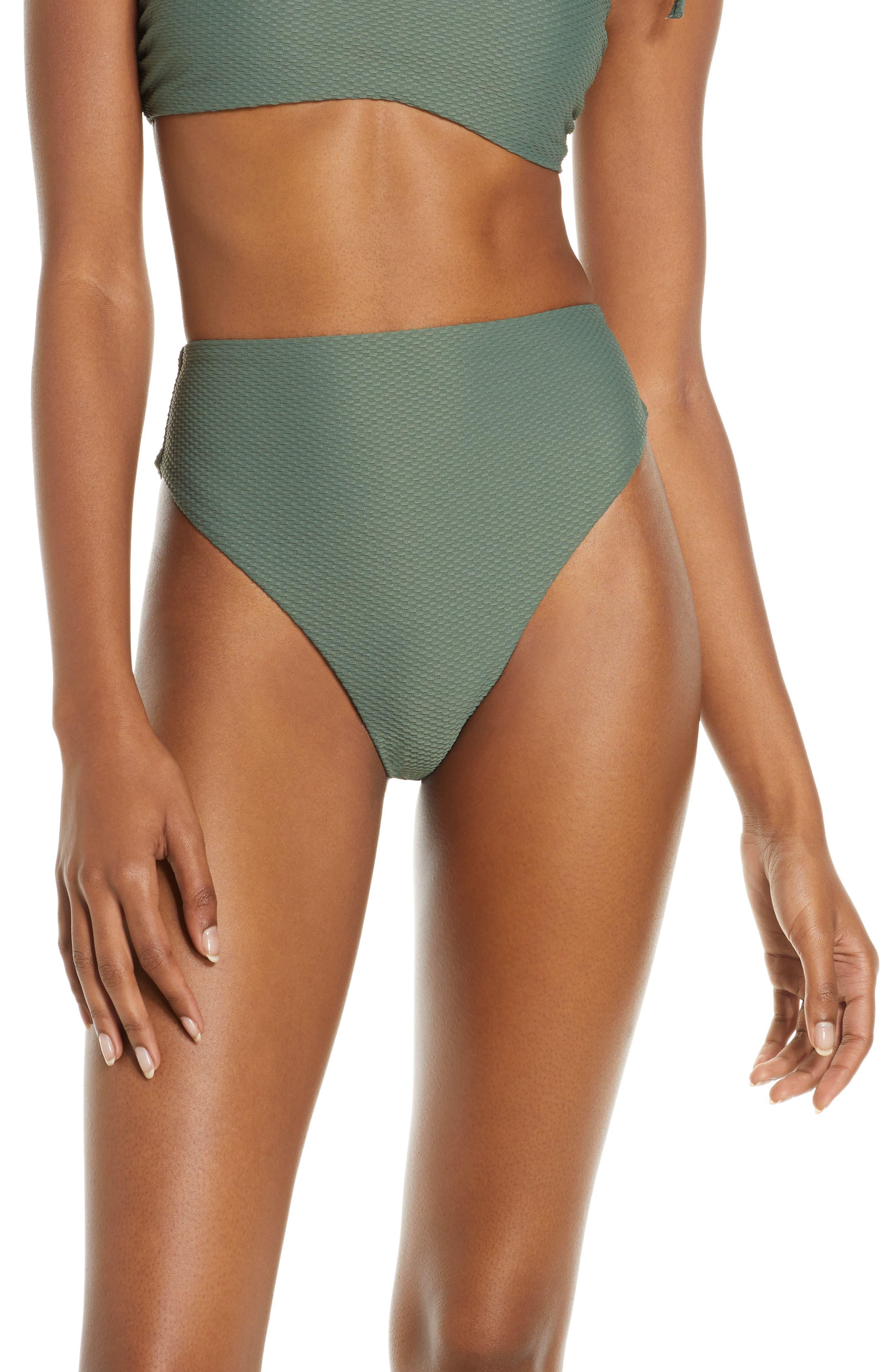 Chelsea28 Easy Retro High Waist Bikini Bottoms, Green