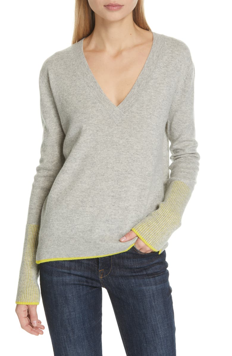 LA LIGNE Wool & Cashmere V-Neck Sweater, Main, color, 057