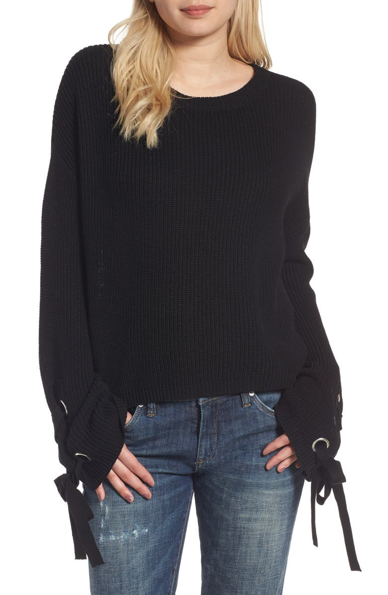 LOVE BY DESIGN Grommet Sleeve Pullover, Main, color, 001
