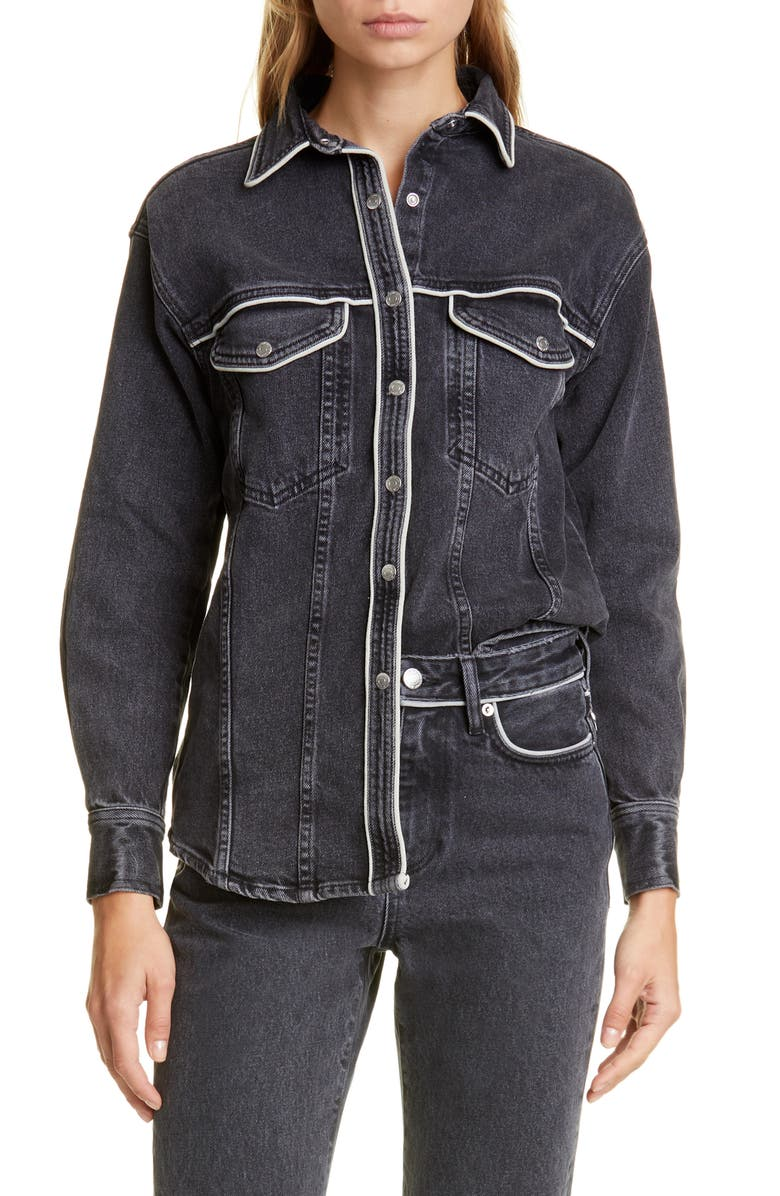 SIMON MILLER Pipo Denim Shirt, Main, color, MID BLACK WASH PIPING