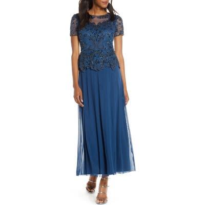 Petite Pisarro Nights Embellished Mesh Bodice Evening Dress, Blue