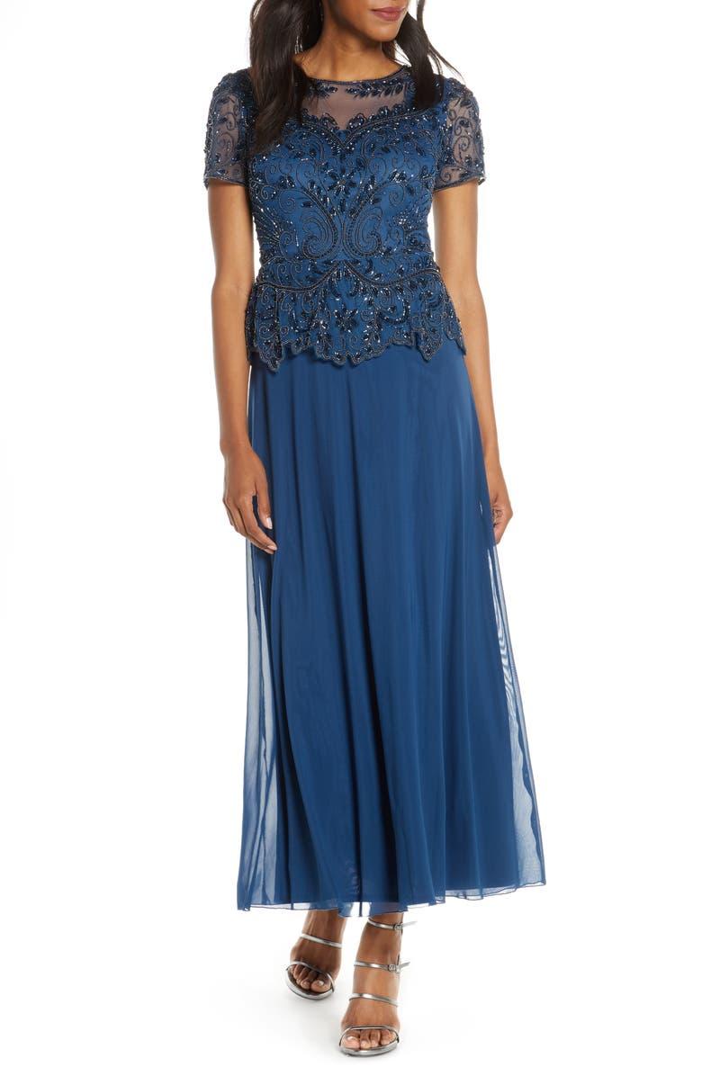 PISARRO NIGHTS Embellished Mesh Bodice Evening Dress, Main, color, PETROL BLUE