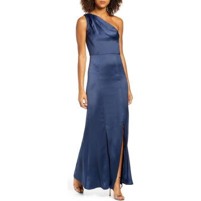 Chi Chi London Aiyanna One-Shoulder Satin Trumpet Gown, Blue