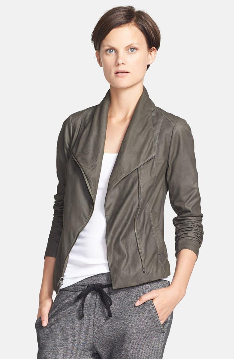 VINCE 'Paper' Leather Scuba Jacket, Main, color, 021